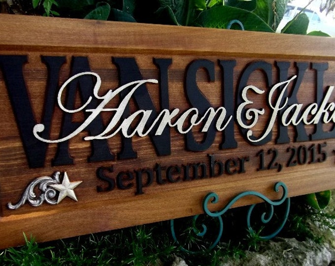 Star & Scroll corner option  Anniversary gift  Personalized Carved  Plaque Truly a gift to last a lifetime.