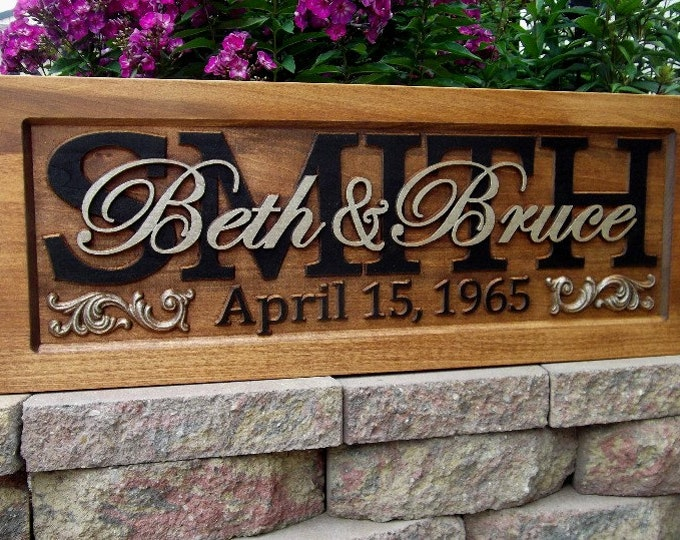 painted finish Custom wedding gift CARVED Wooden Sign Last name Wedding Established Anniversary custom personalized sign