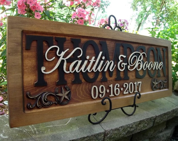 Rustic finish Stars and Horseshoes Anniversary gift  Wedding gift  Personalized Carved Wooden Plaque