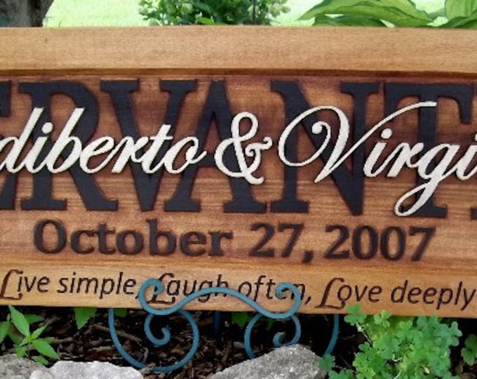 Rustic custom wedding gift CARVED Wooden Sign Last name Wedding Established Anniversary custom personalized sign