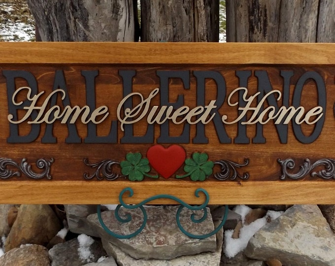 Home Sweet Home Plaque  carved wood   painted lettering
