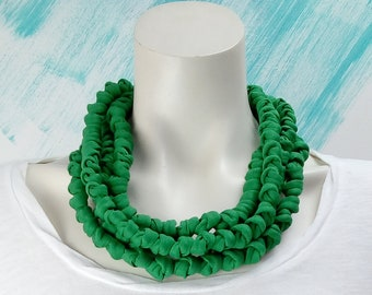 Green fabric necklace, textile chunky necklace for woman, cloth jewelry unique gift for women