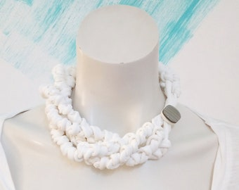 Statement knot fabric choker necklace, white t-shirt jewelry chunky necklace birthday gift for women