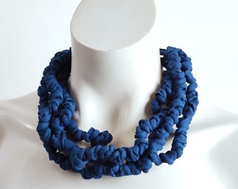 Statement fabric bib necklace, London blue bead textile choker and necklace, knot t shirt yarn jewelry handmade gift for women