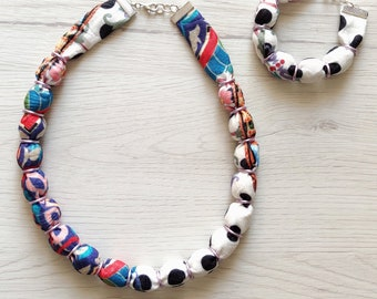 Colorful fabric bead necklace, textile boho print design choker for women, wooden bead statement handmade jewelry set