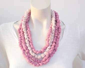 Long blush pink fabric necklace, multi strand scarf boho textile necklace eco-friendly gift for women
