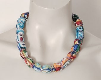 Chunky boho fabric necklace, textile floral choker for women, handmade bead statement necklace for fun time