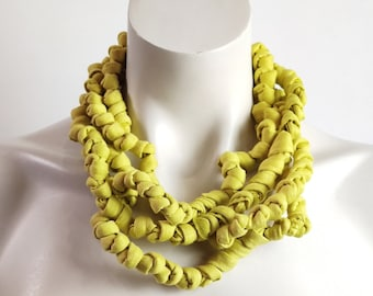 Charteuse green chunky fabric necklace, multi strand textile choker necklace, boho jewelry unique gift for women