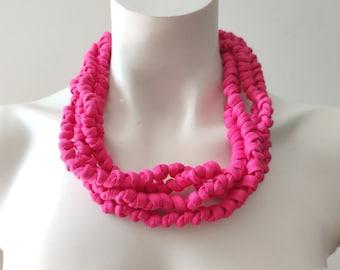 Chunky Fuchsia choker necklace, knot fabric necklace, cloth necklace, bright pink necklace, statement boho collar necklace