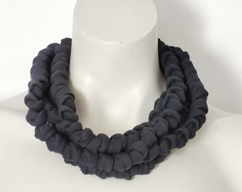 Boho multi strand fabric necklace, black collar necklace, chunky yarn jewelry gift for women