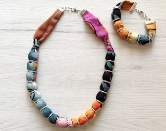 Chunky boho fabric necklace set, textile bracelet and choker for women, bead statement necklace handmade jewelry