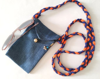 Denim pouch with shoulder strap, blue jeans crossbody phone case, recycled denim purse gift for girls
