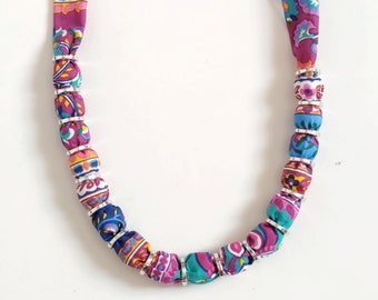 Hot pink floral choker linen necklace, fabric covered bead necklace gift for women