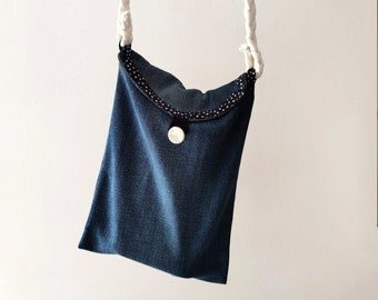 Recycled denim bag with straps, sustainable messenger blue jeans envelope case cell phone pouch for girls and women