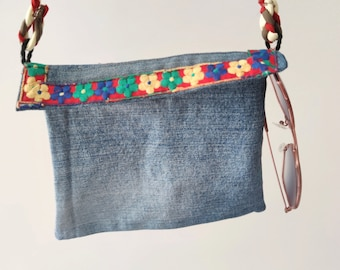 Washed denim pouch with shoulder strap, blue jeans crossbody phone case, recycled denim envelope gift for women