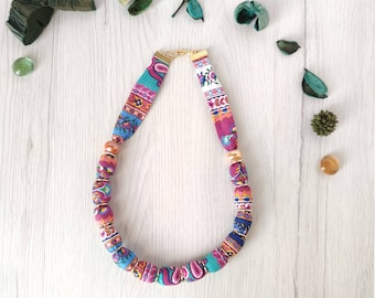 Boho floral fabric linen necklace, fabric covered bead necklace gift for women