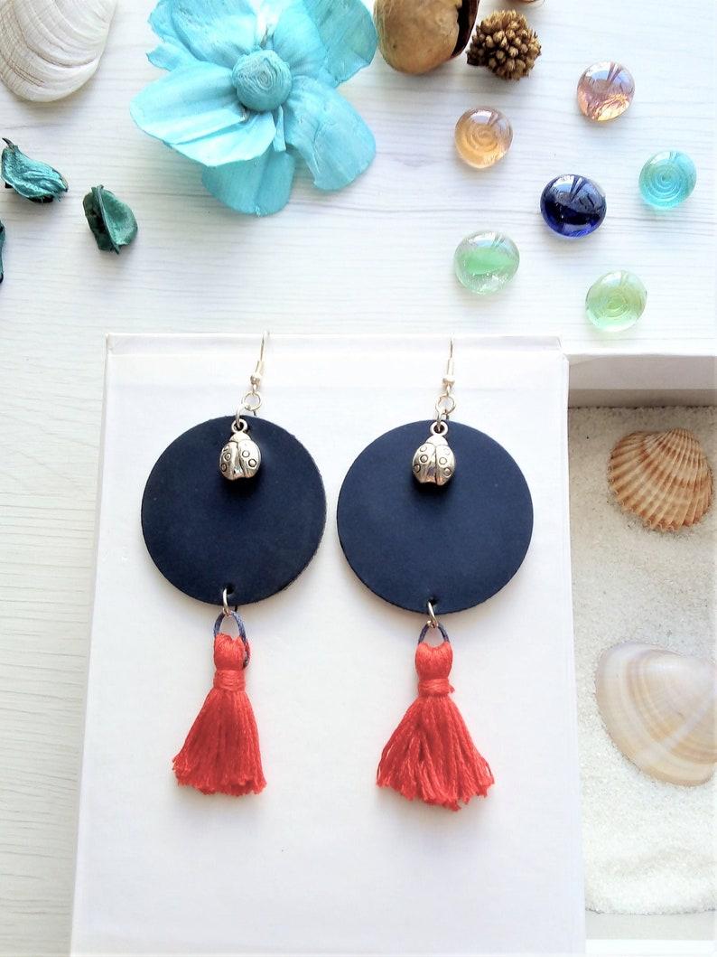 Blue disc earrings long circle leather earrings tassel image 0