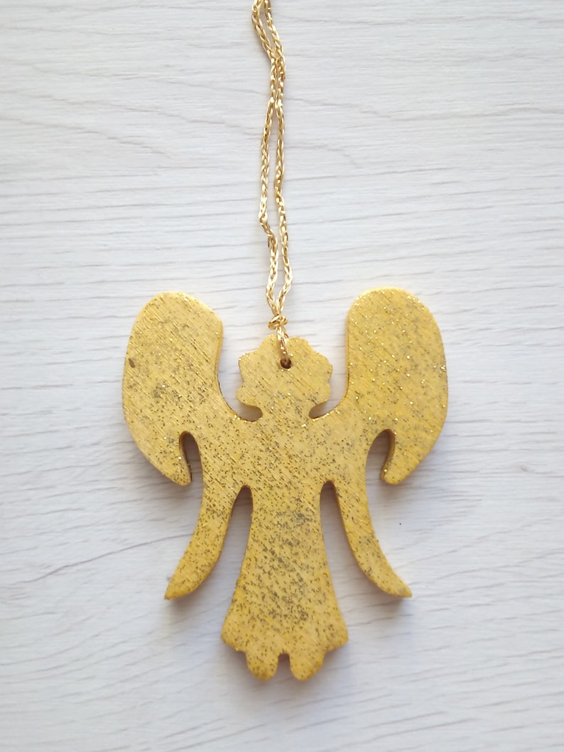 Rustic wooden angel family tree gift hanging angel decor image 0