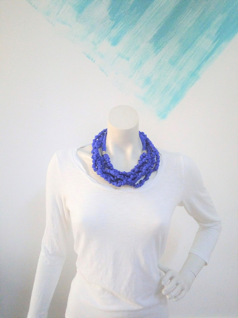 Blue neon necklace multistrand cloth necklace textile image 0