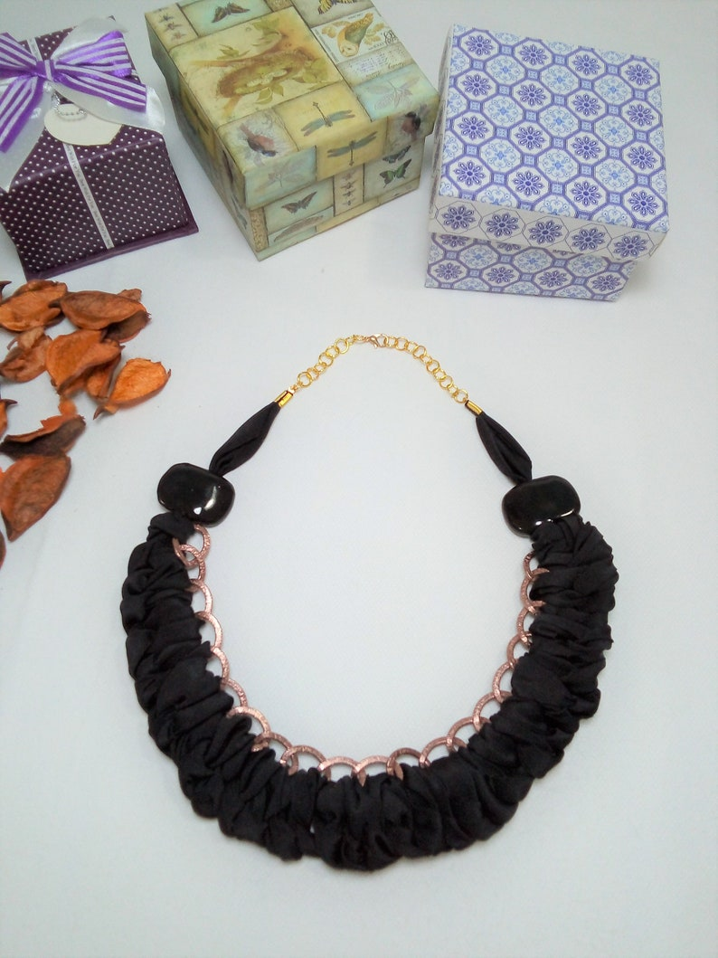 Fabric braided necklace for women black cloth necklace chain image 0