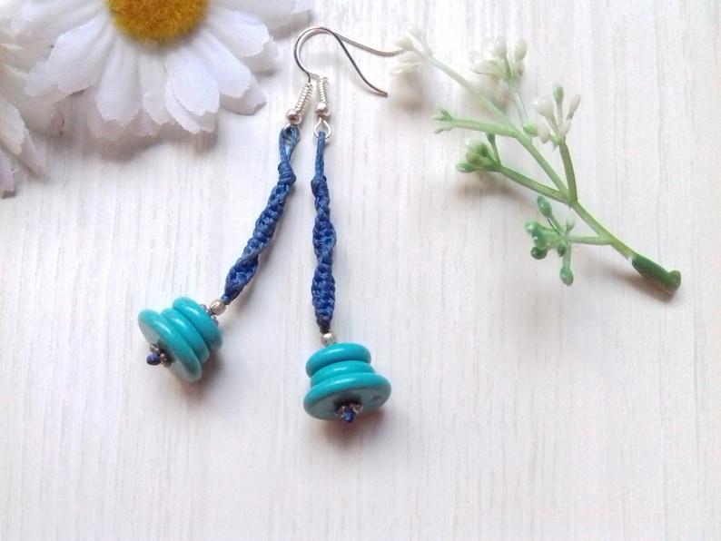 Turquoise earrings chandelier macrame earrings disc bead image 0