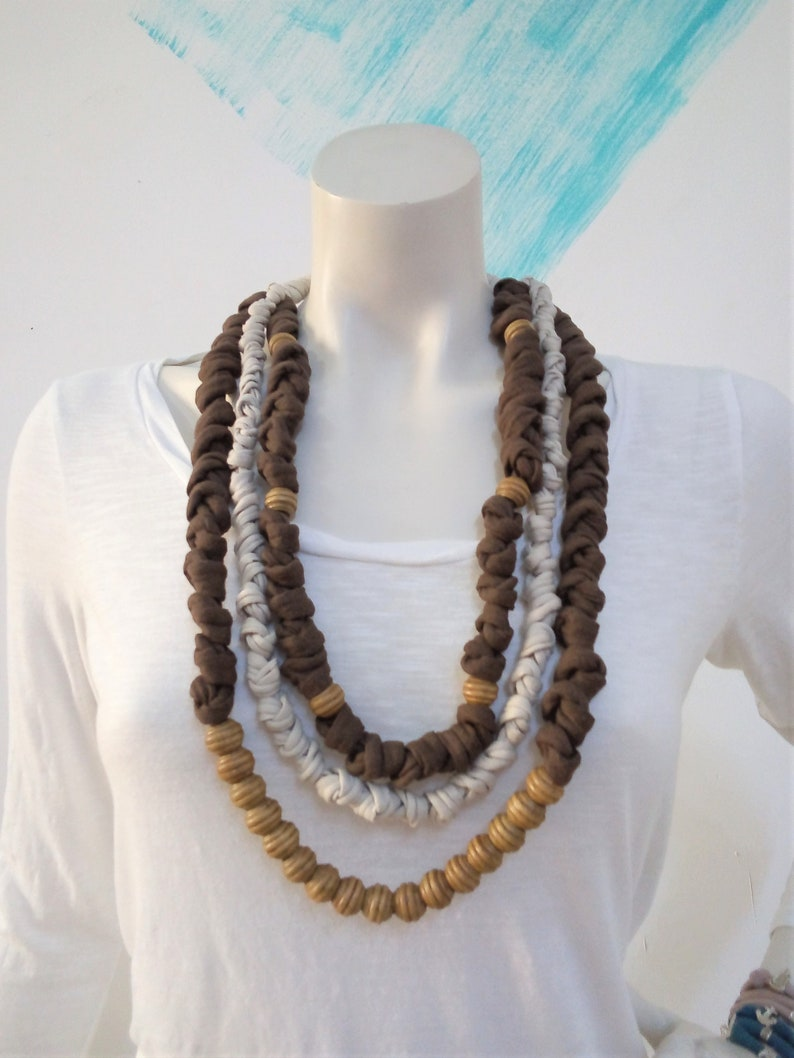 Chunky brown bead necklace statement necklace multistrand image 0