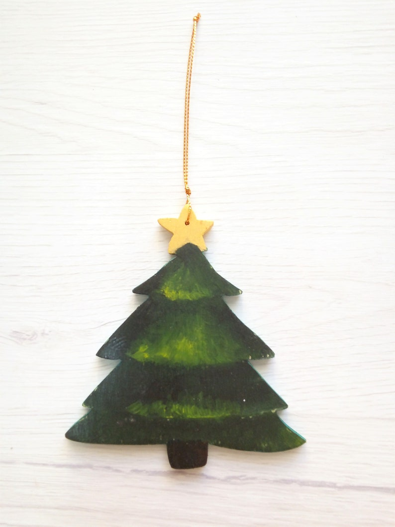 Wooden tree decor painted family tree ornament unique Green