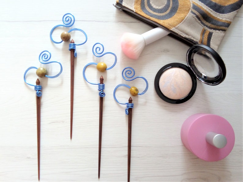 Blue wire hair pin wooden hair chop stick hammered wire image 0