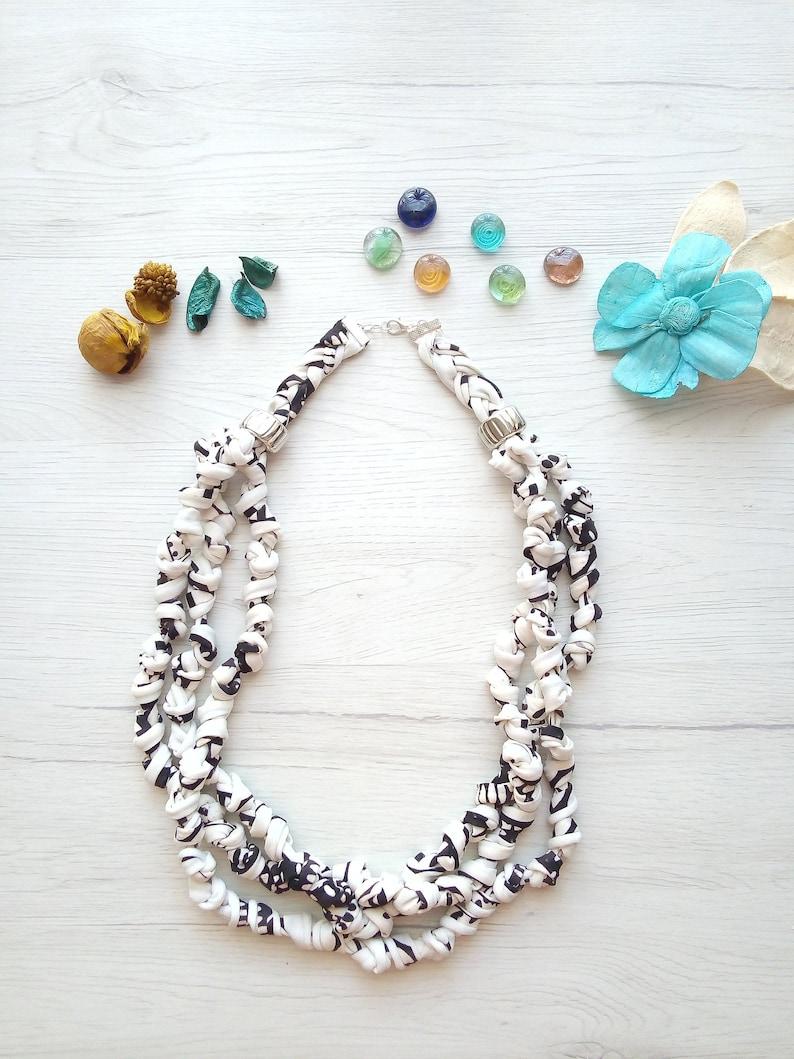 Black & white knot fabric necklace multi strand beaded scarf image 0