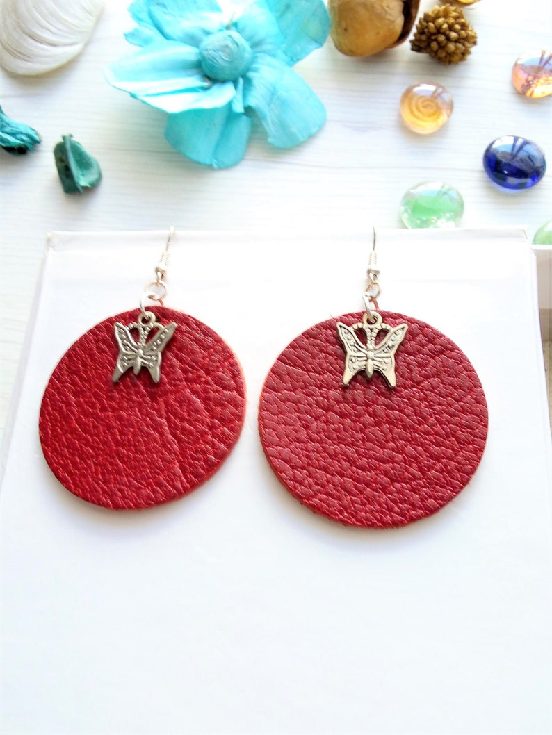 Red leather earrings round butterfly earrings genuine image 0