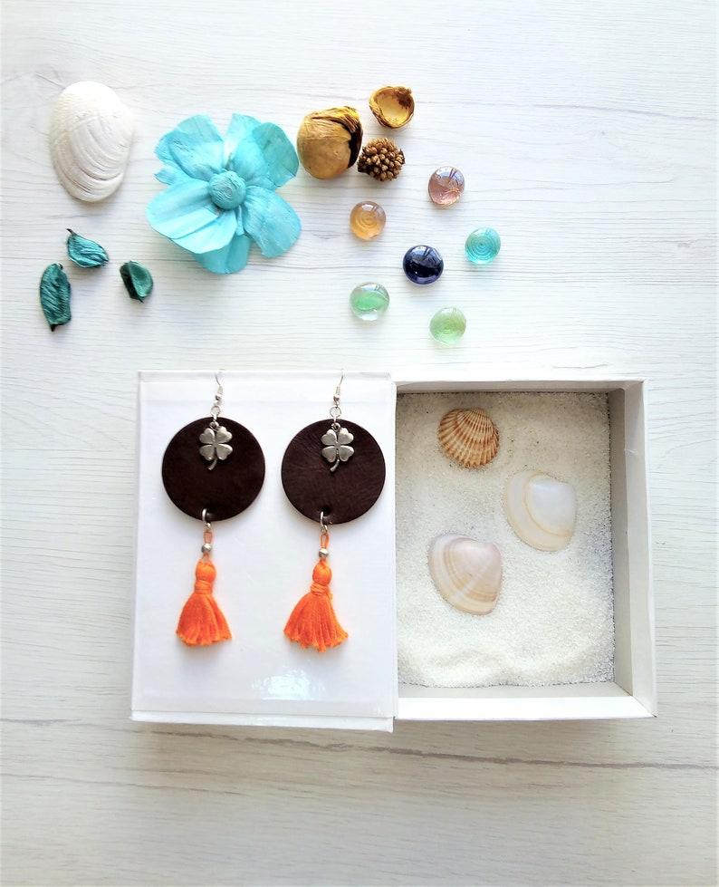 Cherry earrings salmon tassel earrings recycled leather image 0