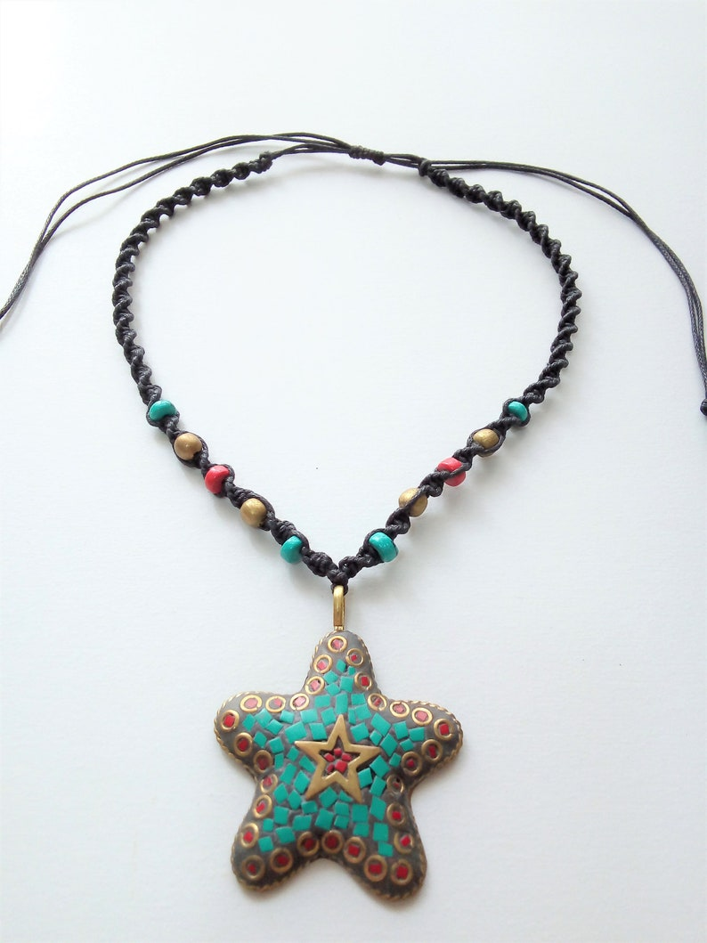 Star choker necklace turquoise chips chunky necklace large image 0