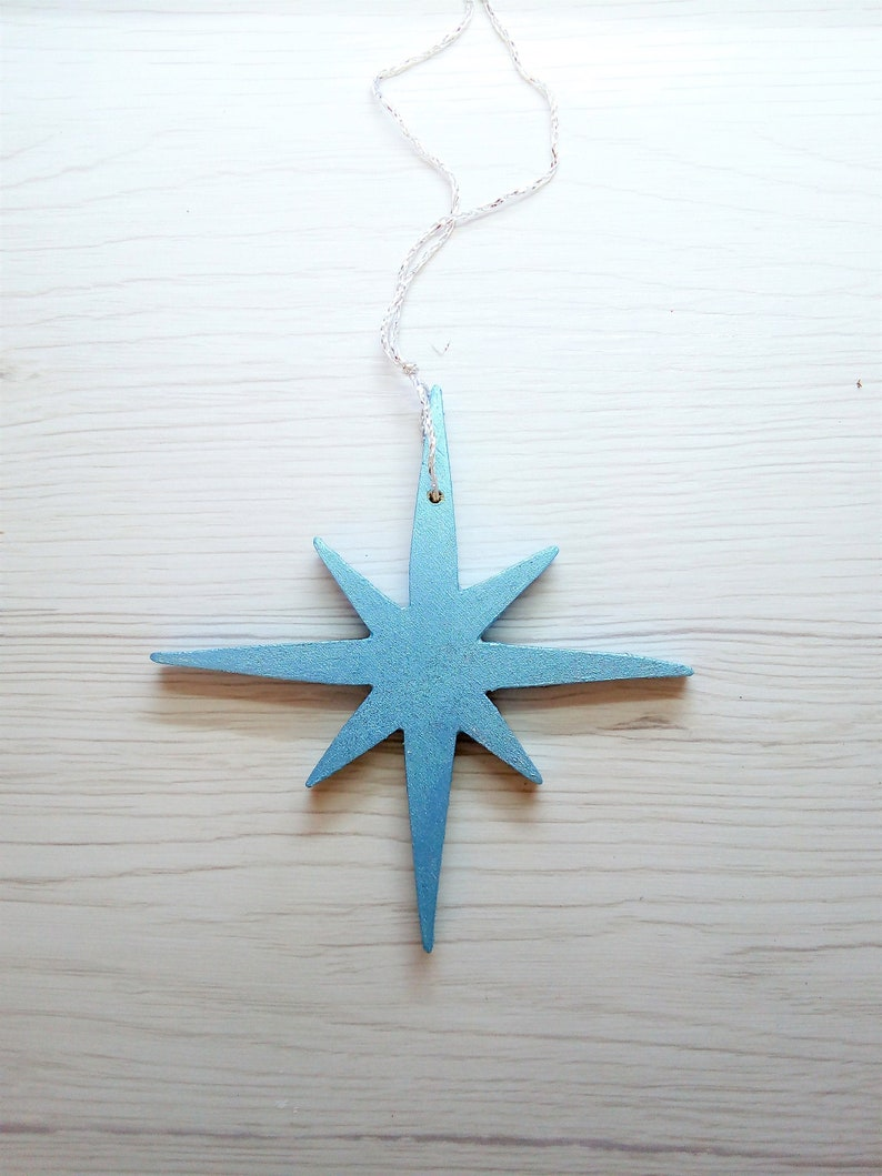Wooden star handcrafted Christmas family tree gift rustic Blue