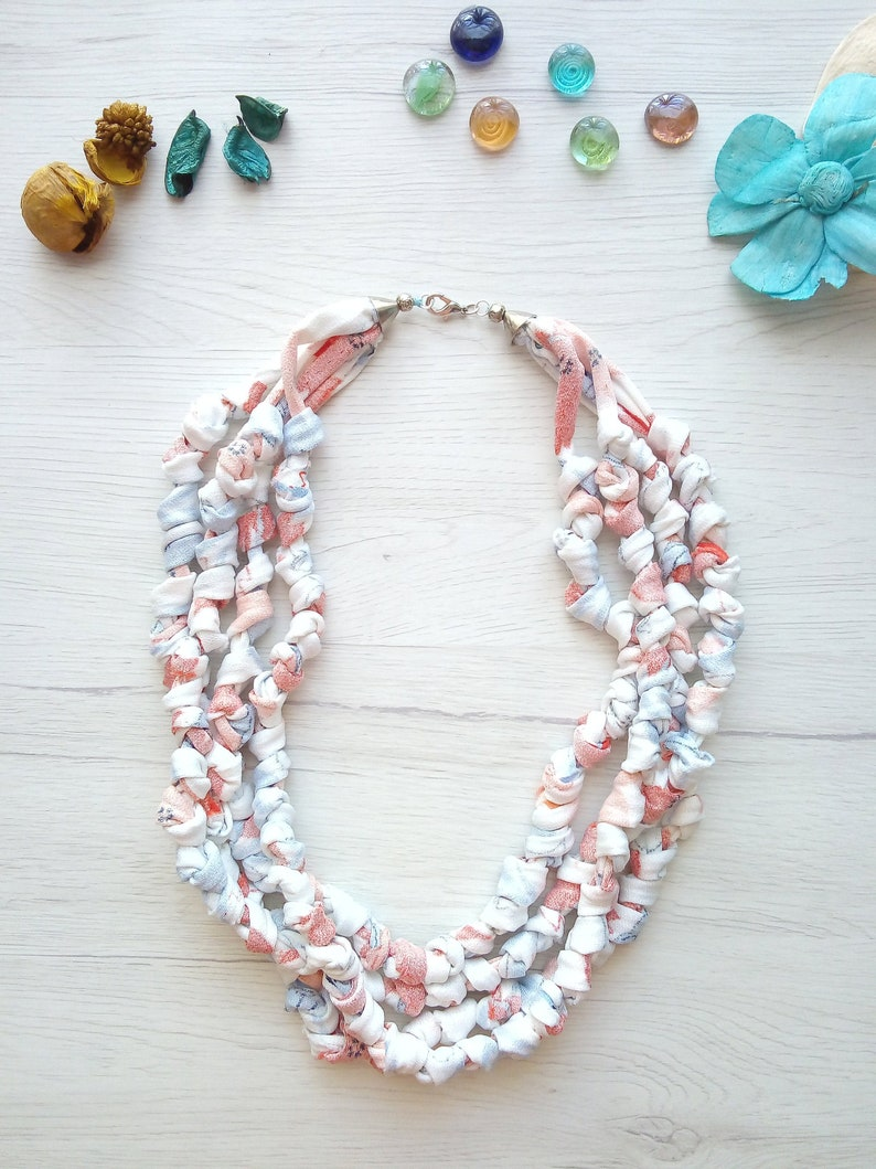 Fabric necklace knotted t-shirt yarn multistrand Statement 30.2 Inches