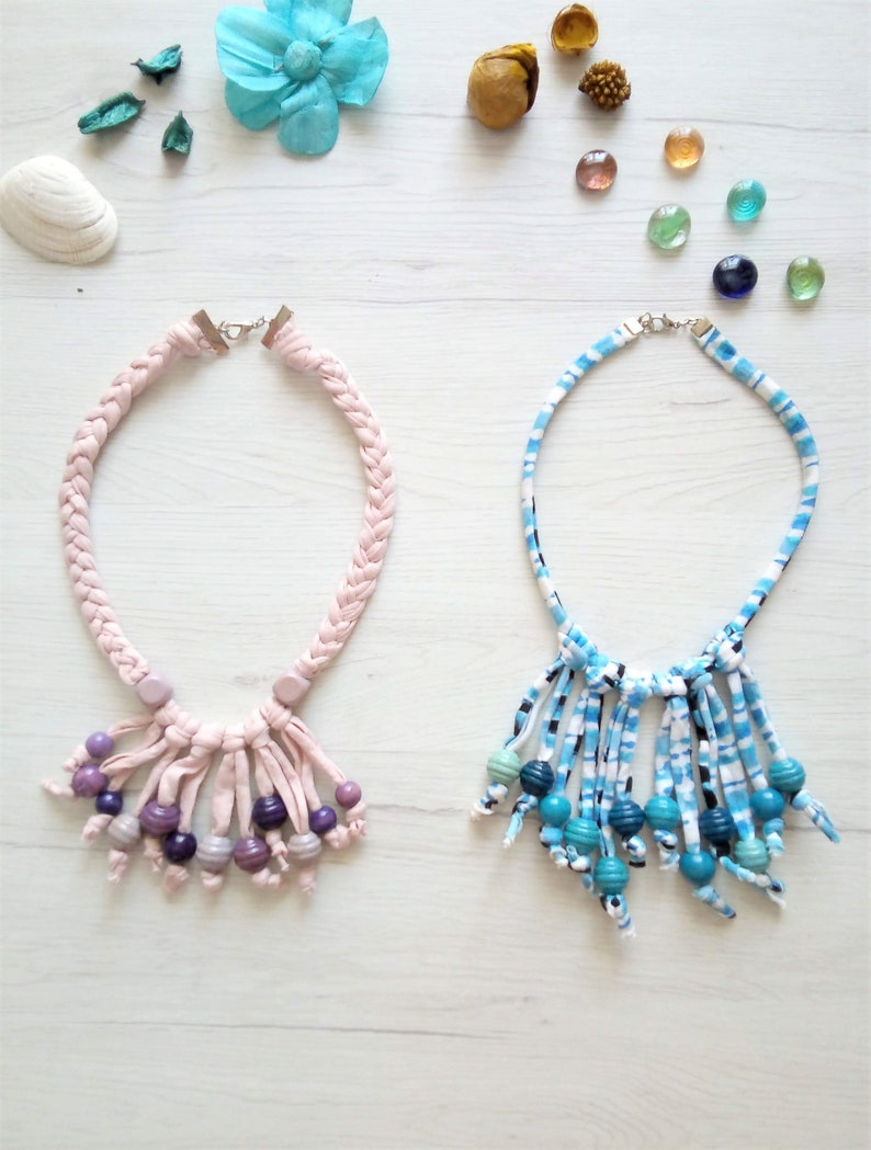 wooden beaded necklace short fabric pendant necklace Fringe choker for women t shirt necklace wooden fringe necklace light blue jewelry