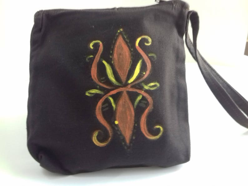 Hand painted pouch hanging toiletry bag women dark brown image 0