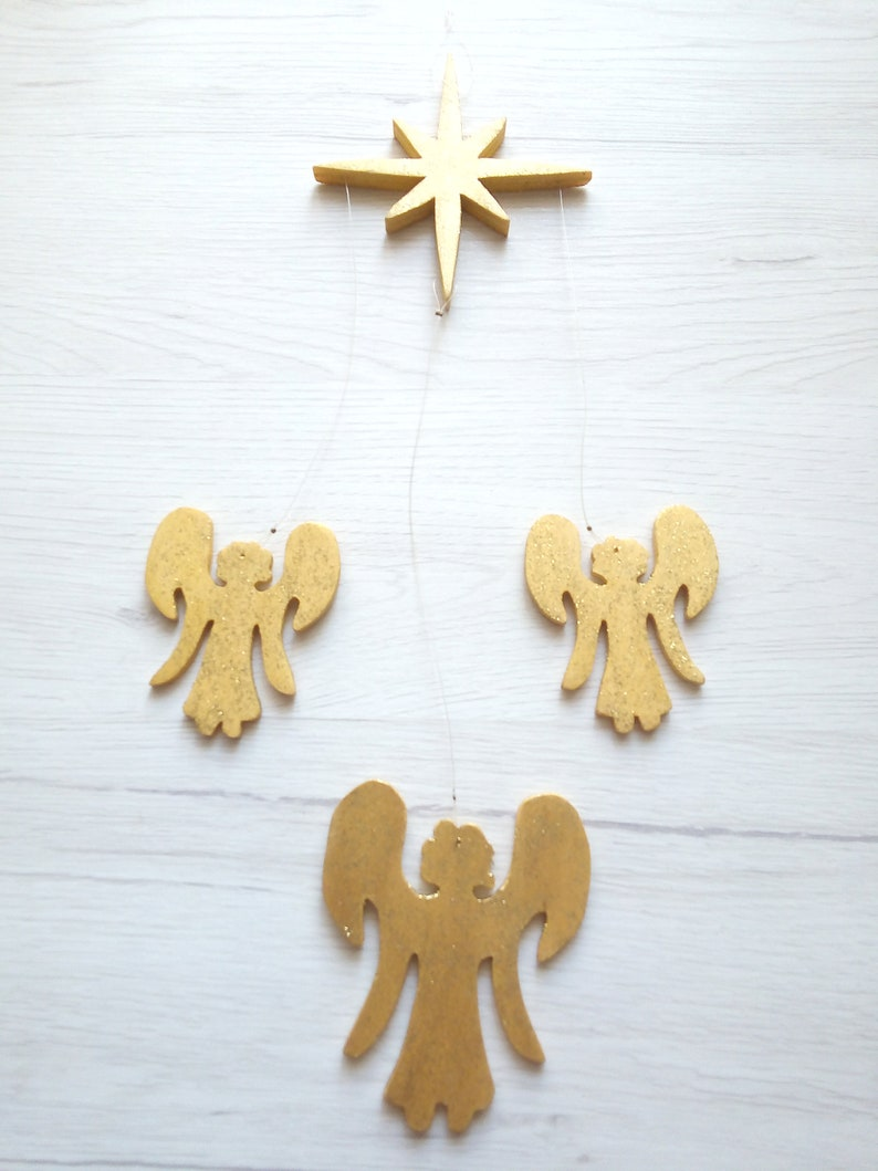 Glittered Angel Christmas decoration wall hanging angel tree Gold
