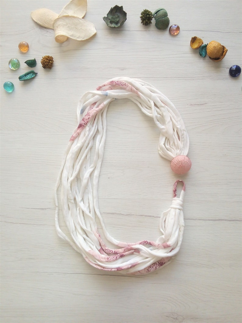Bib statement cloth necklace multistrand scarf necklace image 0