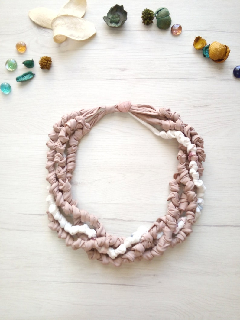 Boho rose pink t shirt necklace bib statement linen collar image 0
