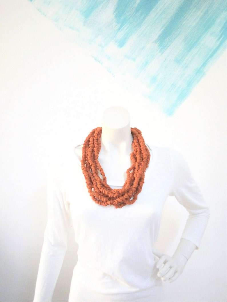 Fabric bead necklace multistrand burnt orange jewelry image 0