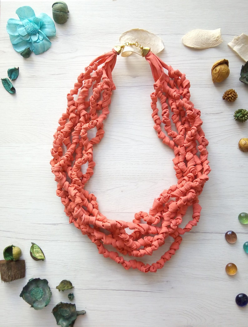Textile salmon necklace fabric bead coral necklace image 0