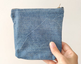 Recycled denim purse, mens zipper pouch, denim cosmetic bag eco conscious gift for him and her