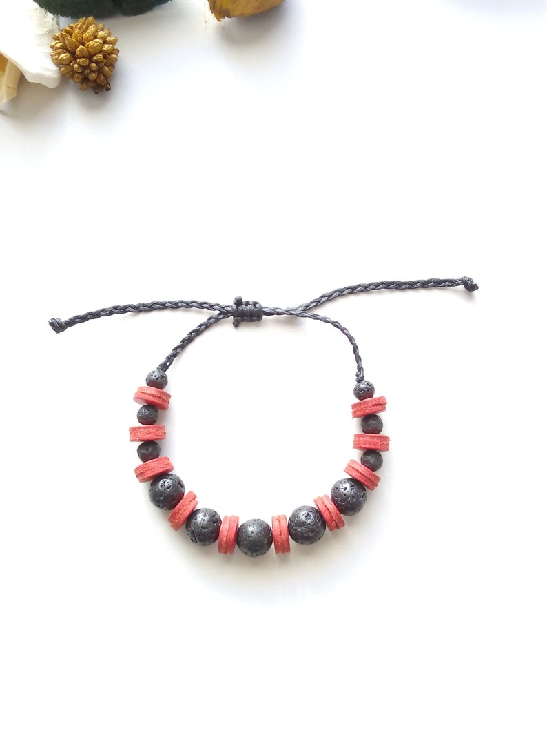Man black leather beaded bracelet woman lava rock bead Red leather