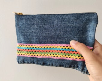 Recycled denim purse zipper pouch, denim pencil case, makeup bag eco friendly gift for him or her