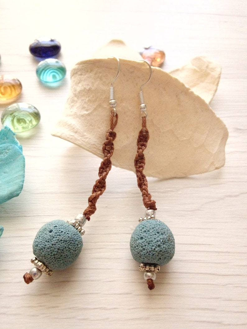Lava rock earrings beaded earrings knotted earrings cord Blue