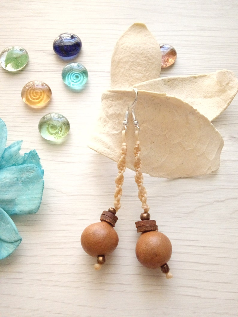 Terracotta earrings Rope earrings beaded earrings earth Beige