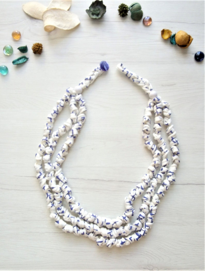 White fabric necklace for women multistrand cloth necklace image 0