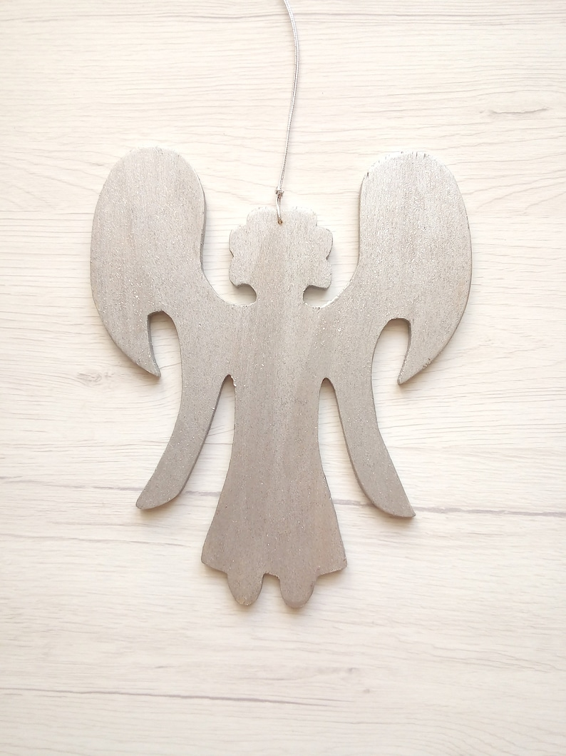 Silver angel wings wall decor wooden angel family tree gift image 0