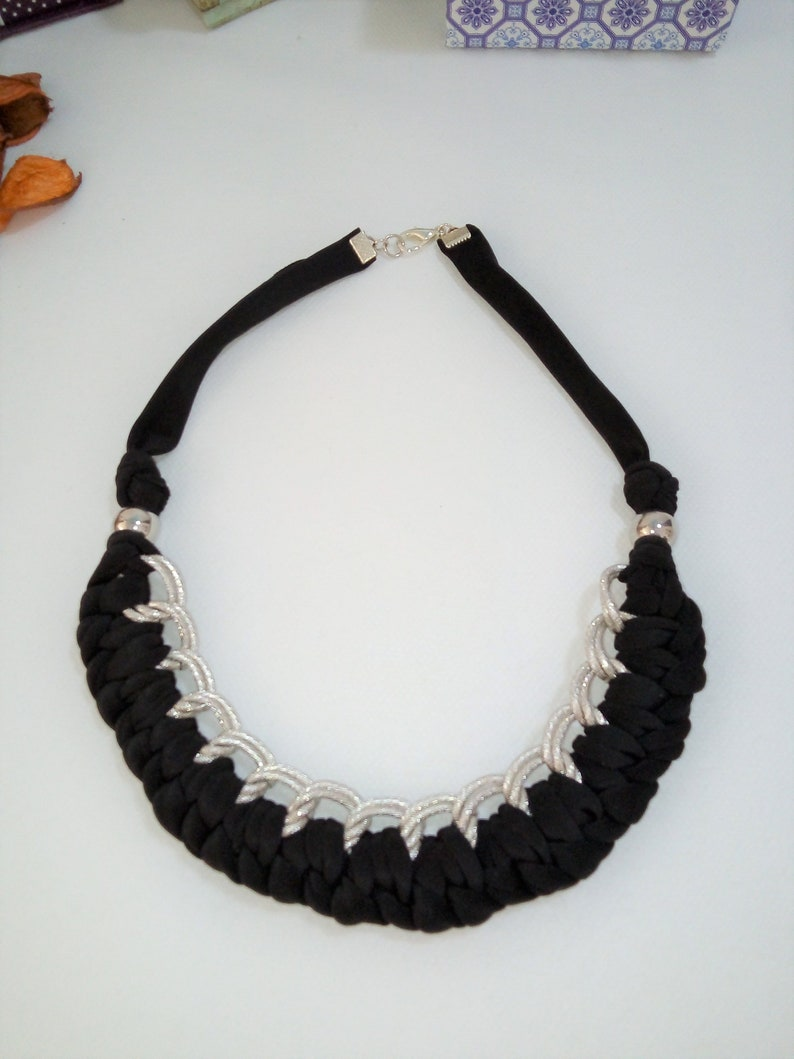 Fabric wrapped necklace for women Braided fabric choker image 0