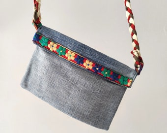 Washed denim pouch with shoulder strap, blue jeans cross body purse wallet, recycled denim envelope gift for women